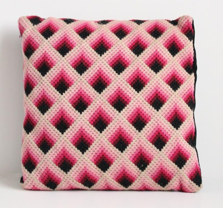 Pink Bargello Pillow - Geometric Needlepoint Pillow