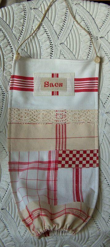 Sac à sacs patchwork torchons vichy rouge