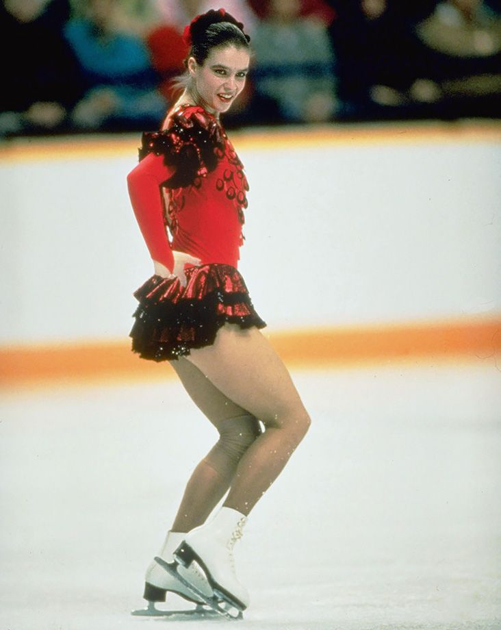 Katarina Witt skates for East Germany during the Women's Singles Finals of the 1988 Winter Olympics at the Olympic Saddledome in Calgary. The two-time Olympic gold medalist skater (1984 and '88)...