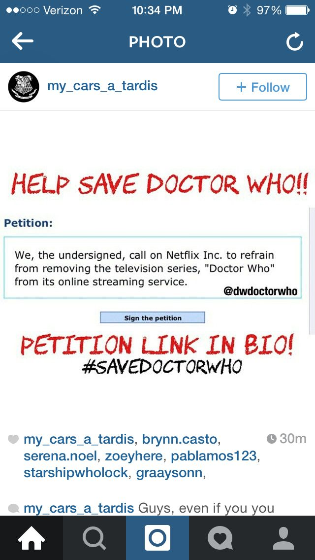 ATTENTION ALL WHOVIANS READ THIS ITS LEGIT!! Link>>http://www.gopetition.com/petitions/save-doctor-who-netflix.html