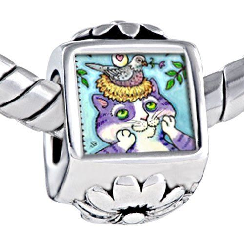 Pugster Lovely Bird In Nest Cat Photo Against Flower European Beads Fits Pandora Charm Bracelet Pugster. $12.49. Metal: Metal. Size (mm): 7.66*12.36*9.88. Color: Purple, green, yellow, white. Weight (gram): 4.8