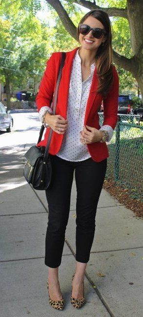 summer outfits Red Blazer + White Dotted Shirt