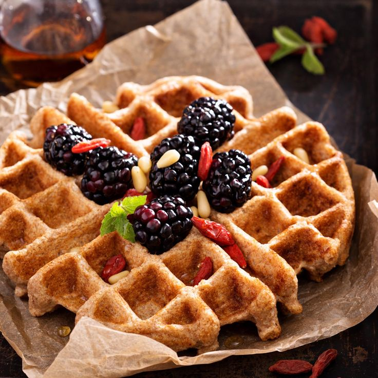 Almond Flour Waffles - Rich, buttery and crispy waffles topped with fresh fruit, berries and pine kernels. @driedfruitnuts #GlutenFree #Paleo