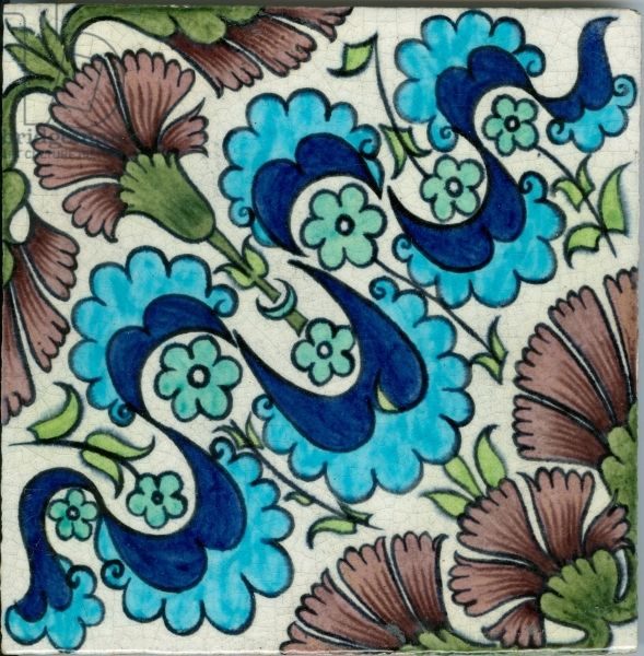 Carnation pattern tile (ceramic) Creator     Morgan, William De (1839-1917)