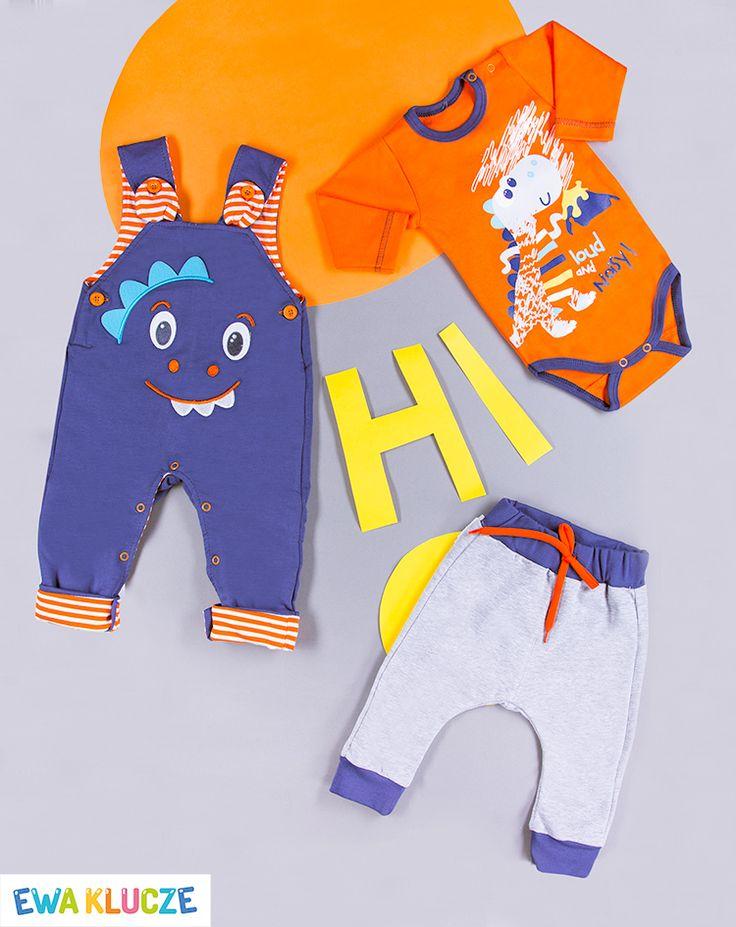 EWA KLUCZE, kolekcja MESSY PLAY, ogrodniczki dla chłopczyka, pomarańczowe body, spodenki szary melanż, wiosna-lato 2017, ubranka dla dzieci, EWA KLUCZE, MESSY PLAY collection, orange bodysuit, joggers, baby clothes