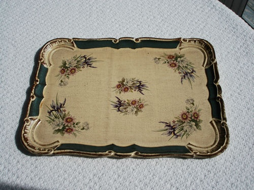 Vintage French Country Floral Paper Mache Toleware Tole Tray | eBay: French Trays, Country Floral, Paintings Pieces, Paper Mache, French Country, Digg Trays, Floral Paper, Mache Tolewar