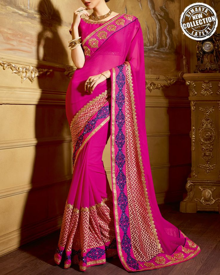 Impress Everyone With Your #Ethnic Look By Wearing These Wedding Special #Sarees From Our Online Store: http://www.simaayafashions.com/magenta-colour-wedding-saree-ssni1805.html  #Wedding #Love #GetNoticed