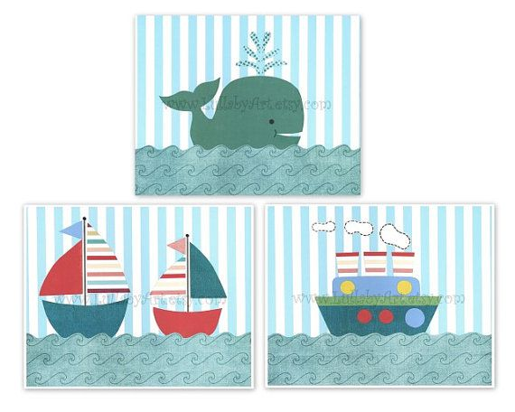 Room Sailboat Nautical Tug Boat Whale Ocean Theme Nursery Wall Art