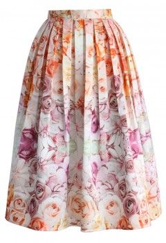 Flowers Whisper Pleated Midi Skirt