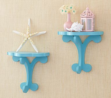 For a little punch of color and a place to keep something cute in the nursery: Nurseries Shelves, Floating Shelves, Bright Color, Favorite Color, Aqua Pedestal, Pedestal Shelves, Accent Color, Pottery Barns, Kids Rooms