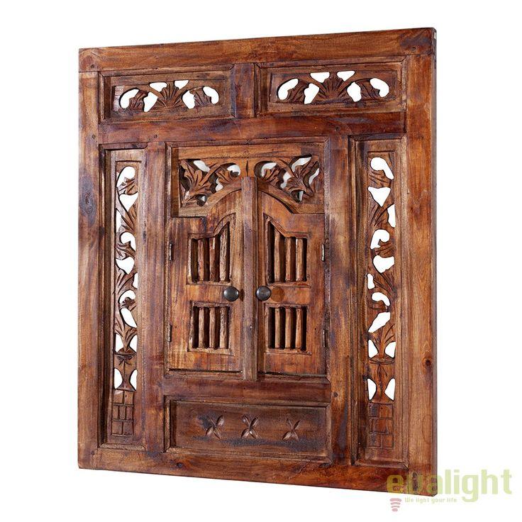 Oglinda decorativa tip geam cu obloane, sculptata Secret Window A-36633 VC - Corpuri de iluminat, lustre, aplice