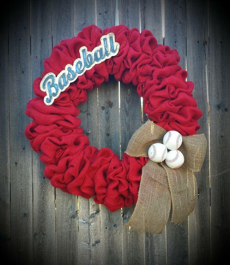 Burlap Baseball wreath. by HangThisDoorDecor on Etsy, $63.00