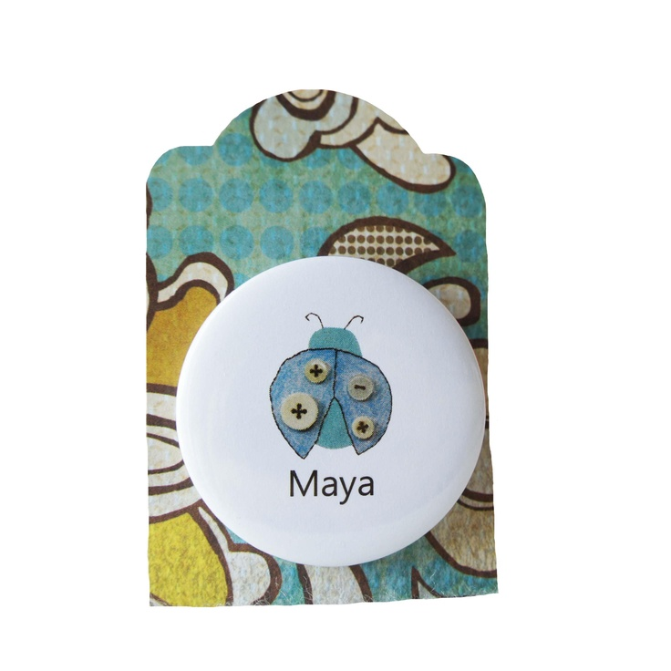 ladybug badge - personalised with any childs name http://ooakly.blogspot.com.au
