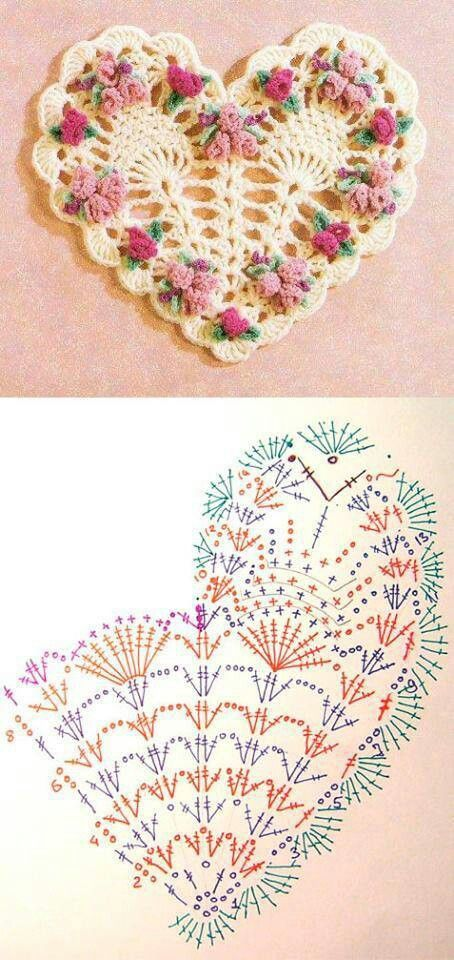 Crochet Heart Motif - Free Crochet Diagram - Then just add your embellishments!(crochetoriginal.blogspot)