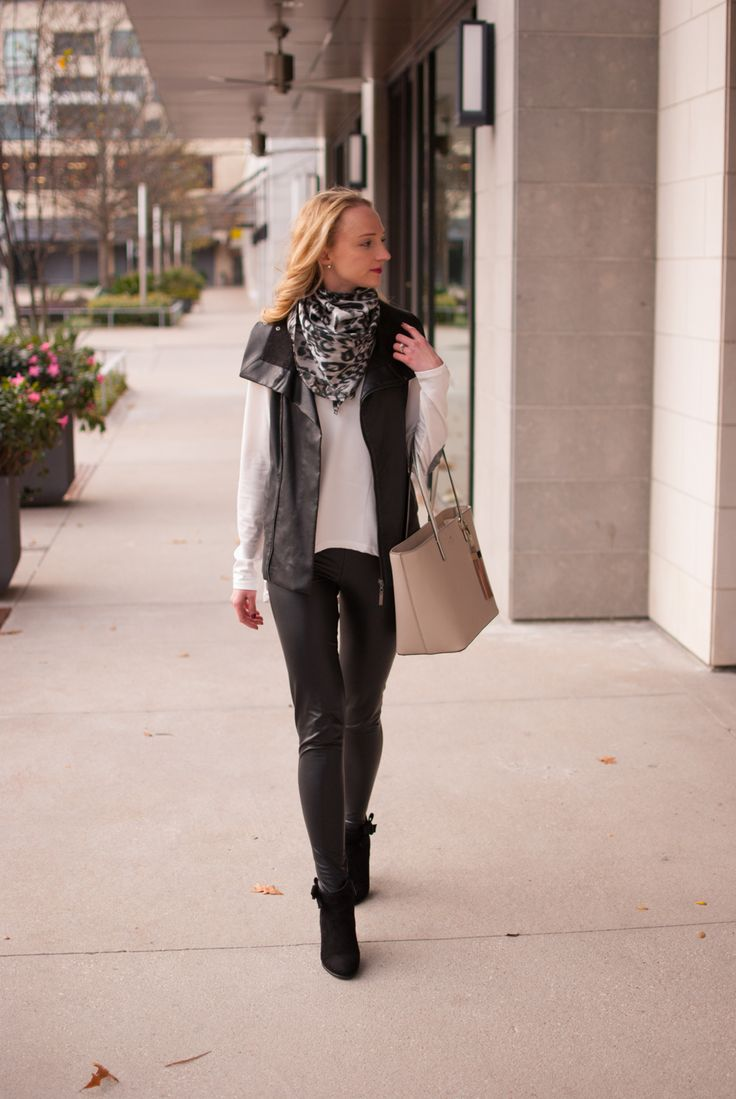 cream top, faux leather vest, BP faux leather leggings, black booties, leopard scarf and kate spade tote