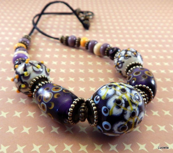 Ty jsi má levandulová II. Elegantní korále pro ženy milující originální šperky.Autorské vinutky jsou uvinuty ze skla Moretti