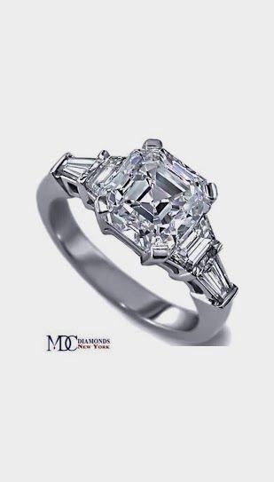 Asscher Cut diamond Engagement Ring trapezoids and baguettes