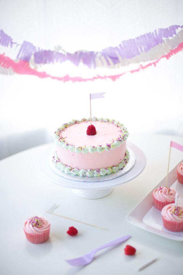 pretty in pink buttercream birthday cake