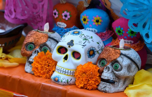 Skulls are seen on an altar Saturday. The Catholic Cemeteries and Mortuaries of the Archdiocese of Los Angeles hosted the second annual Día de Los Muertos celebration at Santa Clara Cemetery in Oxnard. Oxnard, CA 10/28/2017 (Photo by John McCoy, Los Angeles Daily News/SCNG)