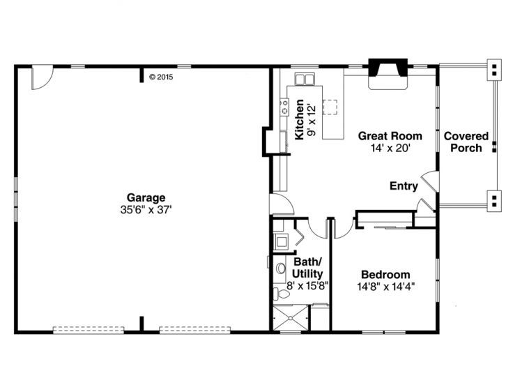 Rv garage with living quarters floor plans for Garage house floor plans