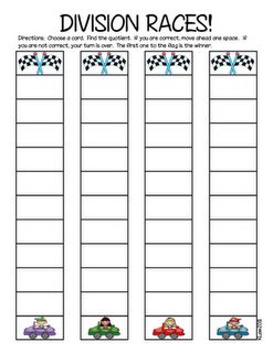 Division Races!!!!-Definitely a must for 4th and 5th graders.  I know I might break this out when I go back and make them practice.