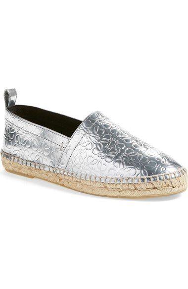 LOEWE Anagram Metallic Espadrille Flat (Women). #loewe #shoes #flats