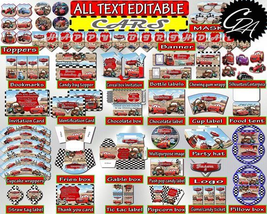 Instant Download DIY Birthday Party Decorations Disney Cars Set. Printable Disney Cars Decor for Birthday Party.