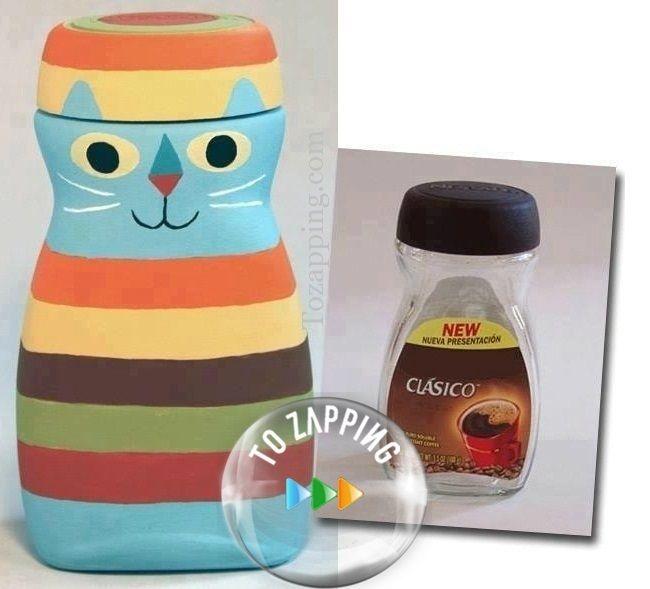 Tarro de caf reciclado los tarros de vidrio de caf se - Manualidades con envases ...
