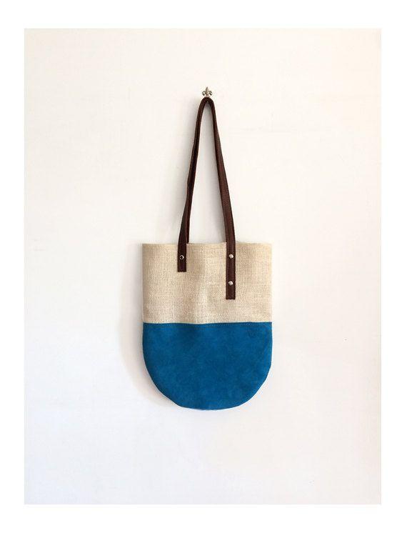 borsa tote in pelle e juta borsa tracolla da donna di BBagdesign