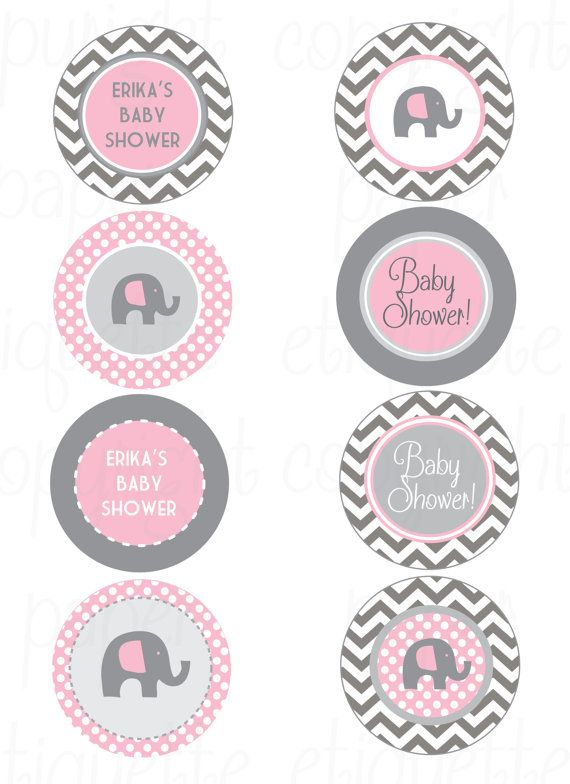 Elephant Pink And Gray Chevron Baby Shower   Print Your Own Elephant Baby  Shower   Elephant Birthday Party  Elephant Pink Shower  Pink Baby