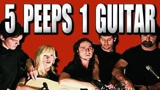 5 people playing 1 guitar... spectacular! Somebody That I Used to Know - Walk off the Earth (Gotye - Cover), via YouTube.