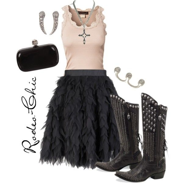 """""""Black Velvet"""" by rodeo-chic Petal skirt with studded cowboy boots, two finger ring, lace tank, rebel, biker, western"""