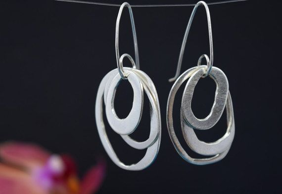 Silver Drop Earrings  Asymmetric Oval Drop Earrings  by MUKAstudio
