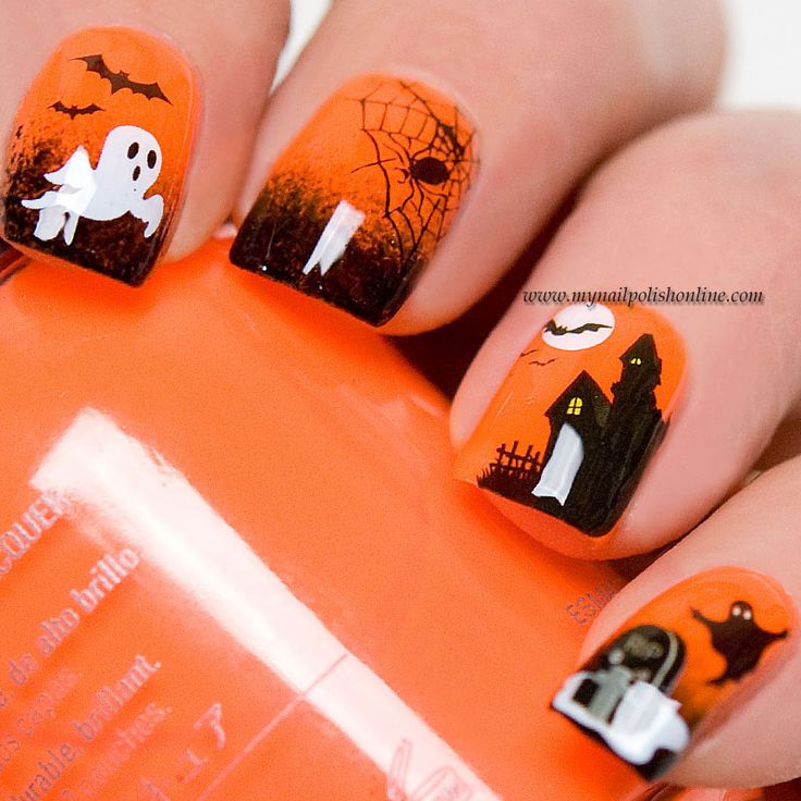 Halloween Nail Polish Designs: 151 Best A Halloween Nail Images On Pinterest