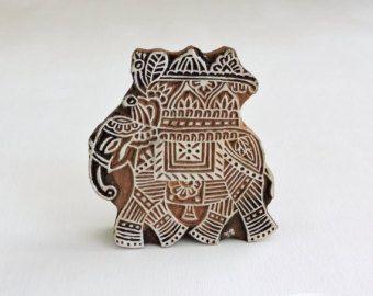Bollo di elefante indiano, elefante Festival, blocco stampa in legno, mano intagliato legno bollo, bollo di argilla fatti a mano, tessile Stamp, India Decor