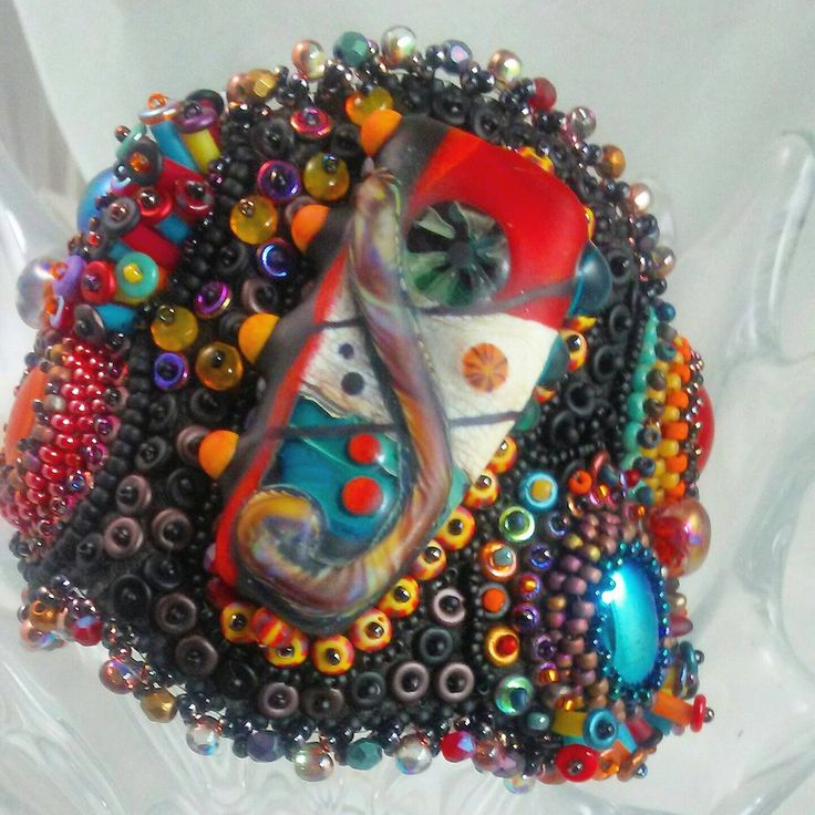 Rio de Janeiro: Bead Embroidered Bracelet Lampwork focal, rubber tubing, festival, Carnival , O beads, Czech beads by 4uidzne on Etsy https://www.etsy.com/listing/450516978/rio-de-janeiro-bead-embroidered-bracelet