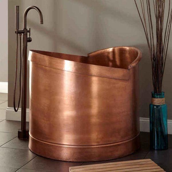 mini baignoires autoportante inspiration dcoration laver cuivre ides accessoires salle de bains japonais baignoires japonaises - Decoration Salle De Bain Japonaise