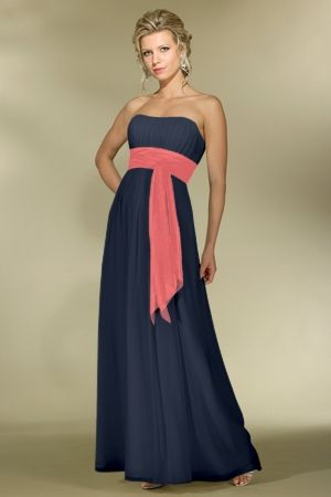Navy and Coral  Chiffon A-line,Band,Strapless Style 2976 Bridesmaid Dress by Alexia Designs