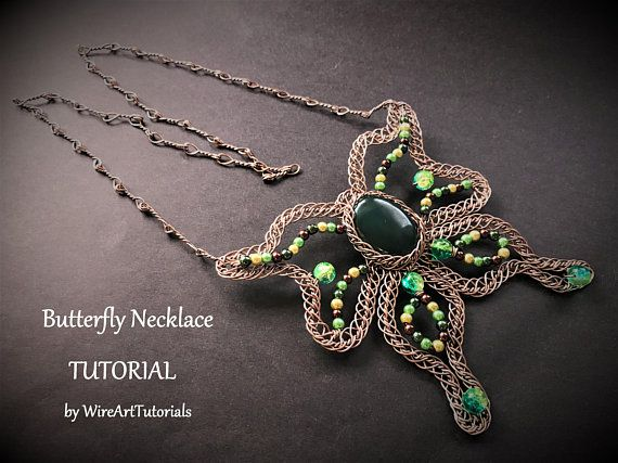 TUTORIAL PDF Butterfly Necklace project pattern,wire wrap weave jewelry,copper,wrapping weaving,wrapped,weaved, cabochon jewellery,lesson