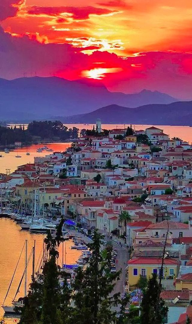 Breathtaking sunset on Poros  #Greece