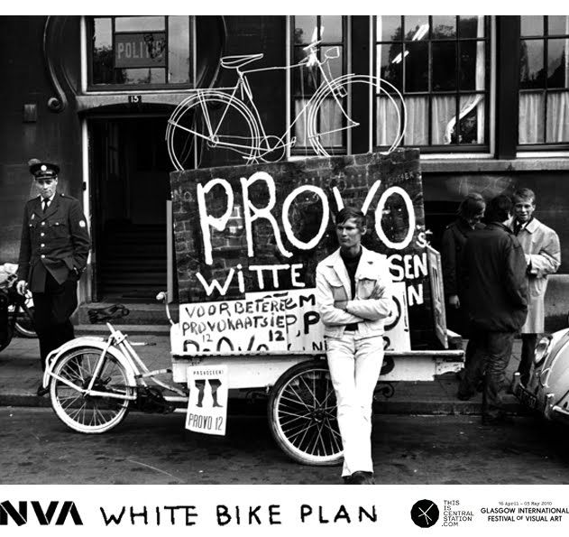 The White Bike Ride Out will create a re-enactment of the original Witte Fietsenplan (White Bike plan) - an anarchic free transport programme in Amsterdam started by the Provos, the Dutch counter culture movement of the 1960's. The initiative was the source inspiration for the (PUB) Public Use Bicycle systems which has been updated and 'officially' replicated in cities worldwide.