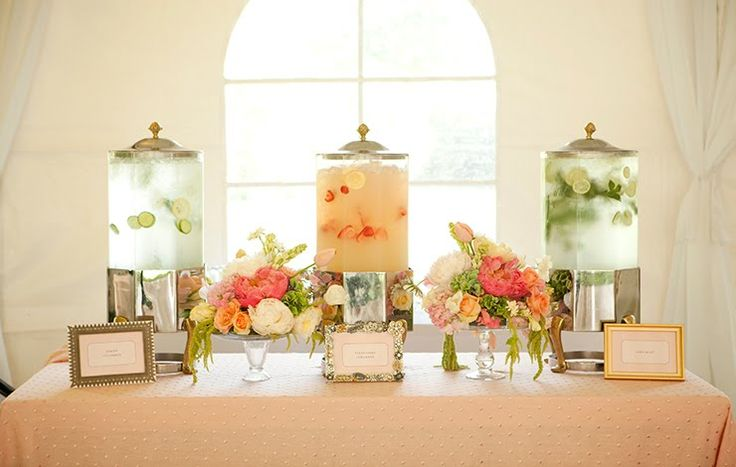 Water Drink Station: Give guests a quick cool down before the ceremony with a water station. Fill stylish water dispensers with fanciful flavors such as lemon and cucumber, lime and mint, and strawberry.
