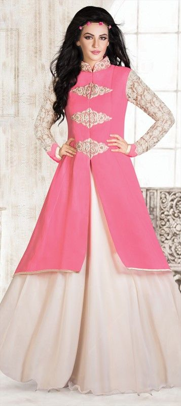 433389 Pink and Majenta  color family gown in Faux Georgette fabric with Lace, Moti, Patch, Resham, Sequence work .