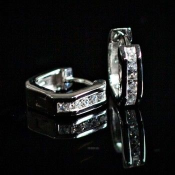 Bling up your day with our stunning Cubic Zirconia Square Hinged Huggie Earrings set in sterling silver.