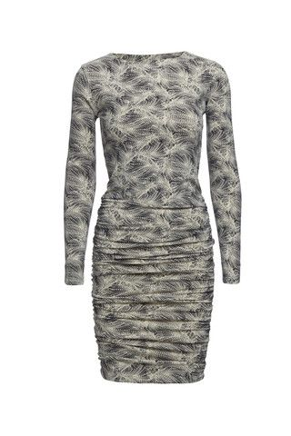 Tricotage organic cotton fitted dress with featherprint (cream/black)
