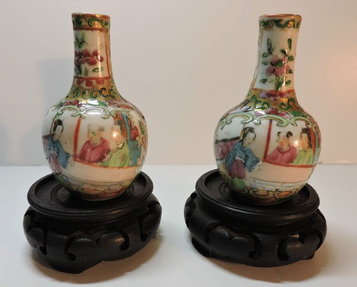 Pr 19thc Miniature Canton Famille Rose Vases on stands in Pottery, Porcelain & Glass, Pottery, Oriental | eBay