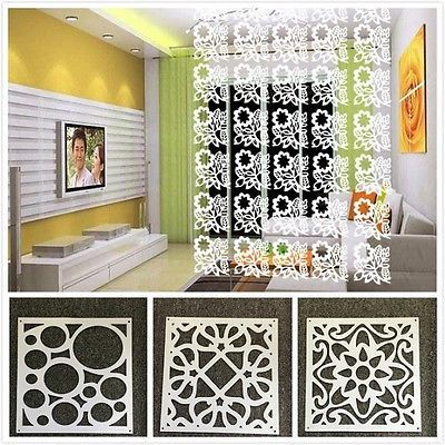 8pc White Hanging Screen Partition Home Office Store Divider Wall Sticker Decor