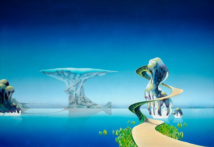 This painting contains two of the most famous of the Yes landscape features. The mushroom city in the background has appeared in many drawings and paintings (most notably, Yesshows Mist and Yellow City) while the foreground double helix pathway has also been sketched, painted and copied many times. Pathways is the fourth painting of a sequence showing the segments of a small world that broke up (Yes Fragile) being led to a new planet where they form the basis of a new civilization.