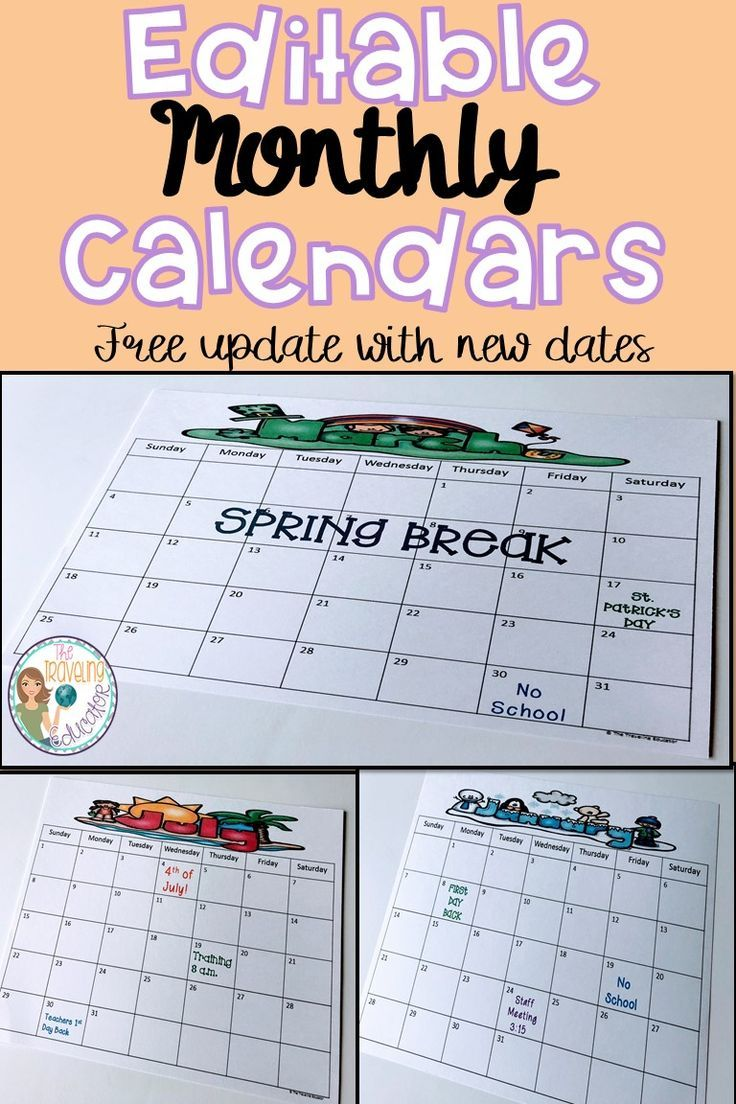 On The Lookout For Teacher Or Student Calendars Check Out These Monthly Perfect