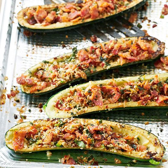 Smoky bacon and Parmesan cheese give these grilled zucchini boats delicious flavor. Recipe: www.bhg.com/recipe/vegetables/zucchini-boats-with-bacon-gremolata/?socsrc=bhgpin080312grilledzucchiniboats